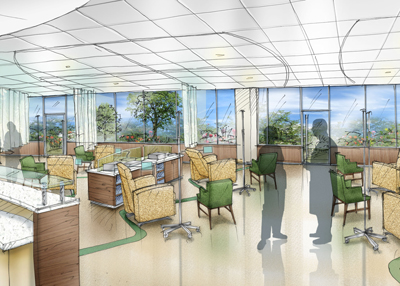 Architectural rendering of Oncology treatment stations