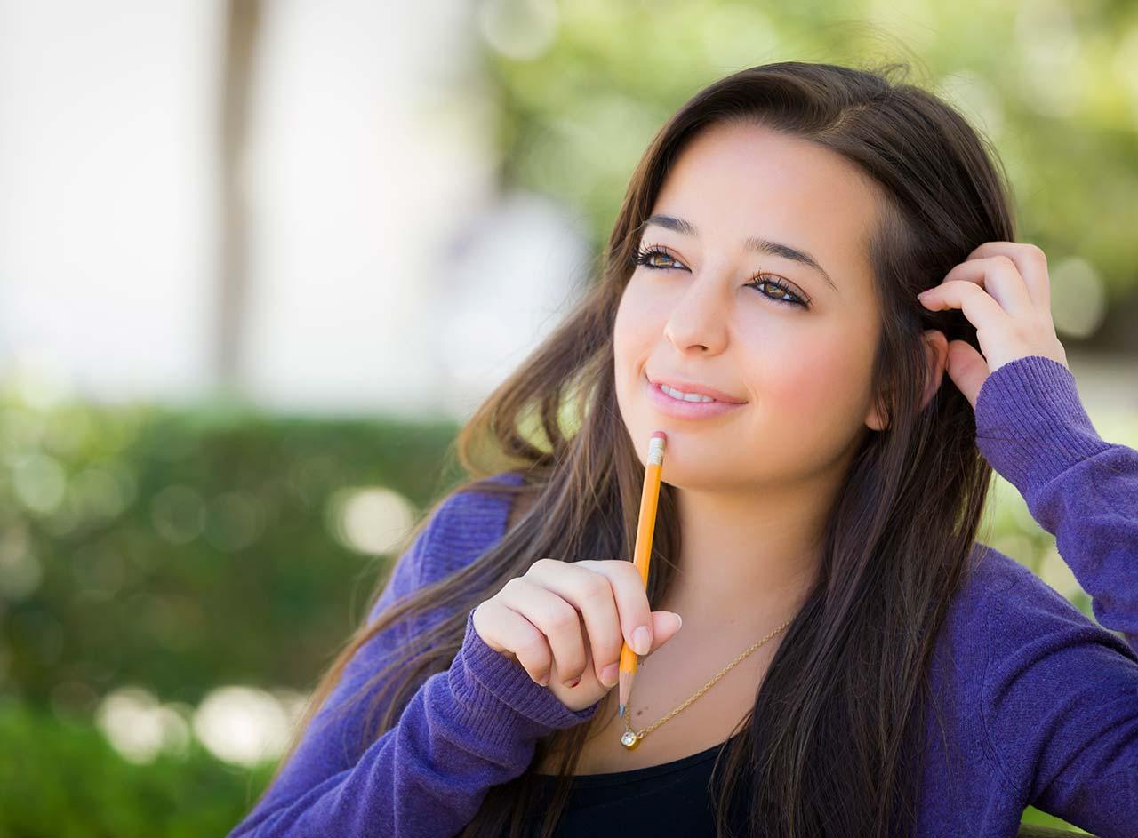 adolescent girl reflecting