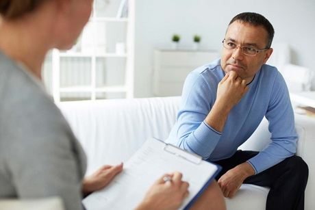 psychiatric consultation with adult man