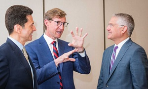 Left to right: Dr. Gerard Compito, Princeton HealthCare System; Dr. J. Larry Jameson, University of Pennsylvania Health System and Perelman School of Medicine; and Barry Rabner, President & CEO, Princeton HealthCare System.