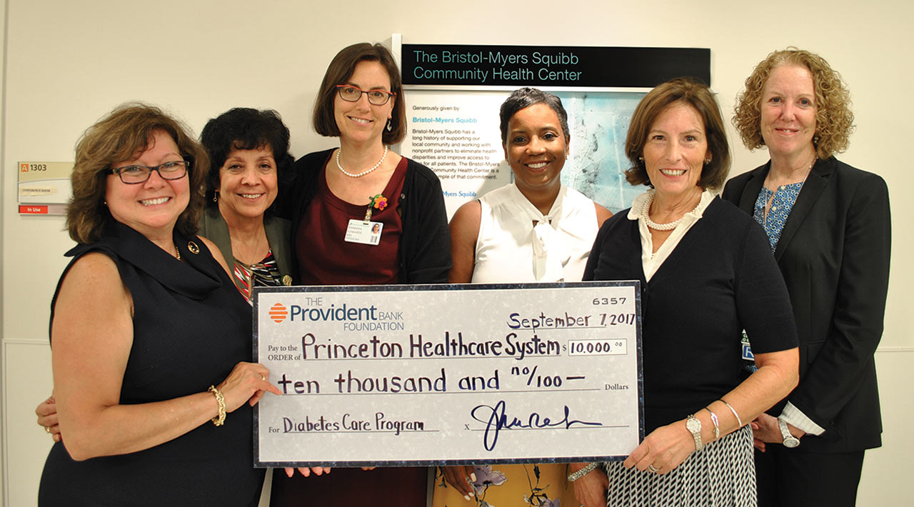 gift of $10,000 from The Provident Bank Foundation to the Diabetes Program at Bristol-Myers Squibb Community Health Center at the University Medical Center of Princeton (UMCP)